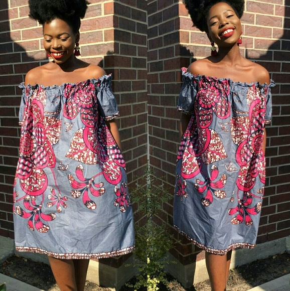 a30d1d84b5633 Women African print off shoulder dress